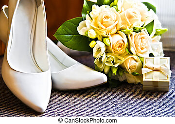 靴, 花束, リング, 高く, 結婚式, かかと