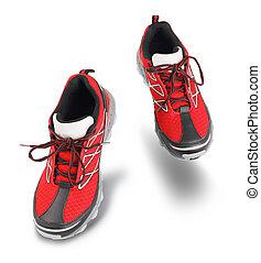 靴, 行く, スポーツ, 赤, 前方へ, 動くこと