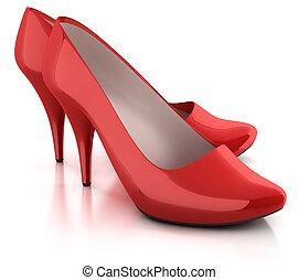 靴, 赤, 隔離された