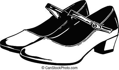 靴, 足, 女, イラスト, クローズアップ, 女性