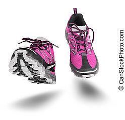 靴, 隔離された, スポーツ, ピンク, 動くこと, 白