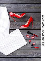 靴, 高い かかと, 対, 白, trousers., 赤