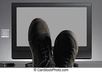 靴, tv, フォーカス, ニュートラル, 背景, から