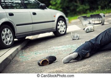 鞋子, ......的, a, 受害者, ......的, 致命, 汽車事故, 在道路上