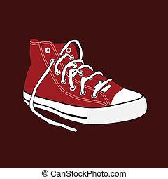 鞋子, a, 對, ......的, 舊的橡皮底帆布鞋