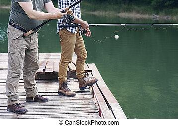 鞭笞, 人, unrecognizable, 釣魚
