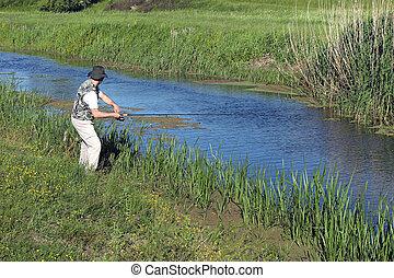 鞭笞, 河, 漁夫, 釣魚