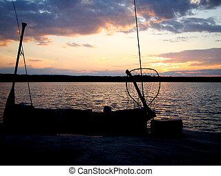 鞭笞, 黑色半面畫像, 釣魚, 湖