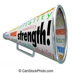 韌性, 力量, 條款, 相象, 优勢, 能力, 力量, 生命力, 穩定, 具有競爭性, 能量, 其他, bullhorn, 詞, 其他人, 堅韌, 力量, 忍耐, 擴音器, 或者, 說明