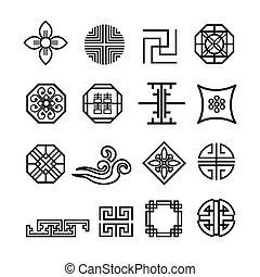 韓国語, 装飾, アイコン, セット