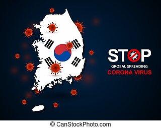韓国, ウイルス, のまわり, 南