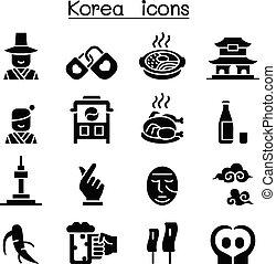 韓国, セット, アイコン
