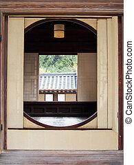 韓国, ソウル, 伝統的である, 窓, ラウンド, 南