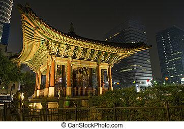 韓国, 中央である, ソウル, 夜, 寺院, 南