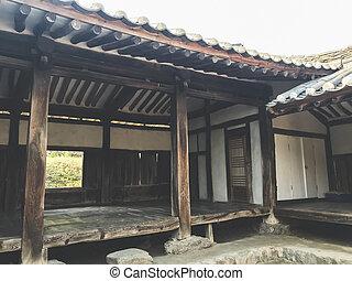 韓国, 古い, 家, 伝統的である, アジア人, village., 韓国語, 南