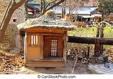 韓国, 古い, 木製である, 小屋, 小さい, 南