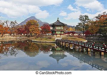 韓国, 宮殿, gyeongbokgung, 秋風景, 南