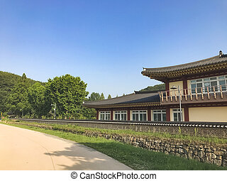 韓国, 家, 伝統的である, アジア人, village., 韓国語, 南