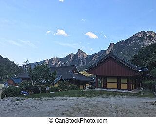 韓国, 家, 国民, 伝統的である, park., アジア人, temple., seoraksan, 南