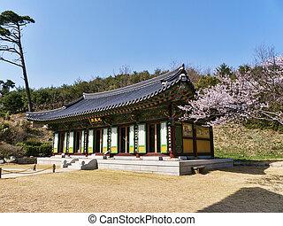 韓国, 家, 木, 伝統的である, sakura, 韓国語, naksansa, 寺院, 南