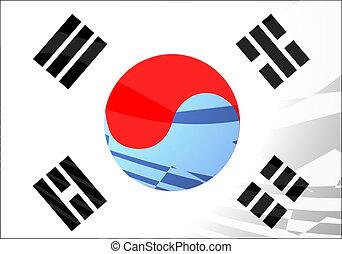 韓国, 旅行, イラスト, 空気, 旗, 南