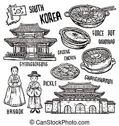 韓国, 旅行, 概念, 南
