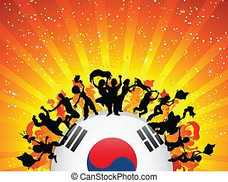 韓国, 群集, 旗, ファン, スポーツ, 南