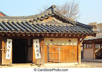 韓国, old-style, 家, 南, 村, 人々