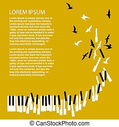 音楽コンサート, テンプレート, キー, 回転, announcement., birds., poster., ピアノ, 祝祭
