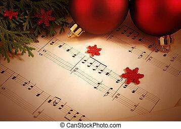 音楽シート, クリスマス, 背景