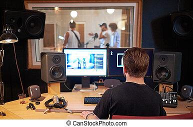 音楽バンド, の間, cd, 録音, 中に, スタジオ