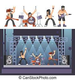 音楽バンド, 打楽器, ステージ, ベクトル, 岩, ベース, guitarist, 実行, 歌手, アイコン, ...