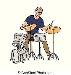 音楽家, ∥あるいは∥, 特徴, 通り, プレーヤー, isolated., スケッチ, イラスト, ドラム, ベクトル