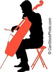 音楽家, イラスト, cello., シルエット, ベクトル, 遊び