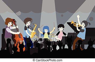 音楽家, , ギター, イラスト, バンド, .jazz, ベクトル, コントラバス奏者, band., サクソフォーン