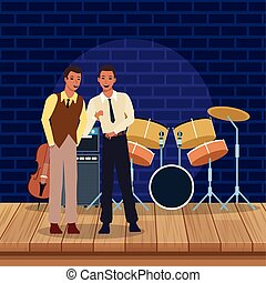 音楽家, ジャズ, ステージ, 道具