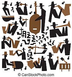 音楽家, ジャズ, セット, -, アイコン