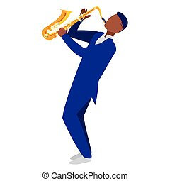 音楽家, ジャズ, 特徴, サクソフォーン, 黒, 遊び