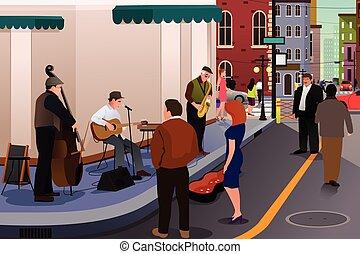 音楽家, ジャズ, 通り, 遊び