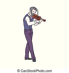 音楽家, スケッチ, イラスト, ベクトル, isolated., 漫画, 人, バイオリンを演奏すること, 通り