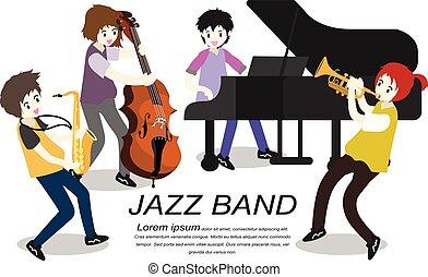 音楽家, スタイル, イラスト, ジャズ・バンド, 隔離された, 背景, .jazz, ベクトル, 漫画, コントラバス奏者, band., トランペット, サクソフォーン