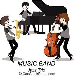 音楽家, スタイル, イラスト, ジャズ, 隔離された, 背景, トリオ, .jazz, ベクトル, 漫画, コントラバス奏者, band., サクソフォーン