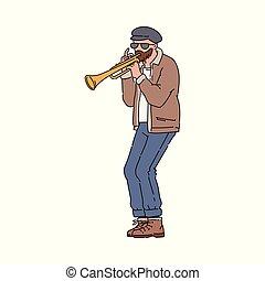 音楽家, トランペット奏者, スケッチ, イラスト, ベクトル, isolated., 漫画, 特徴, 通り