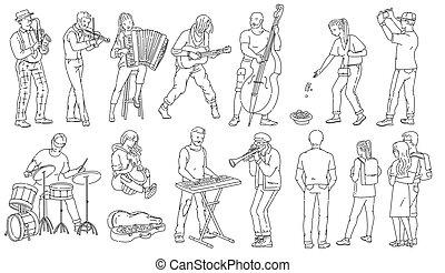 音楽家, ベクトル, isolated., いたずら書き, アウトライン, 特徴, イラスト, セット, 通り