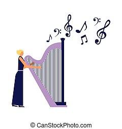 音楽家, 女, 遊び, ハープ