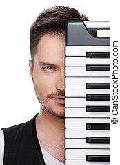 音楽家, 成人, keyboard., 背景, ピアノ, 隔離された, 表面肖像画, 白, 上に, 地位, カバーされた...