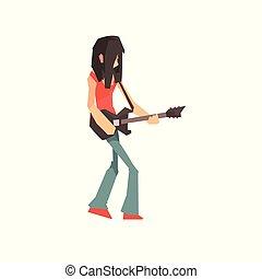 音楽家, 特徴, イラスト, ギターの 演奏, ベクトル, 岩, マレ, 漫画