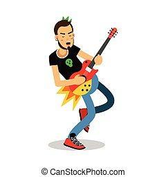 音楽家, 特徴, イラスト, ギターの 演奏, ベクトル, 電気である, 岩, 漫画