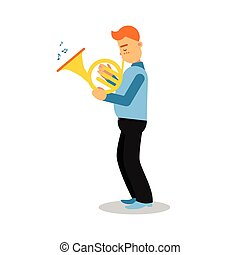 音楽家, 特徴, 若い, フランス 角, ベクトル, イラスト, 漫画, 遊び