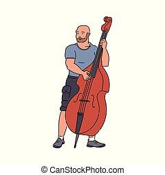 音楽家, 通り, 遊び, isolated., スケッチ, イラスト, 漫画, コントラバス, ベクトル